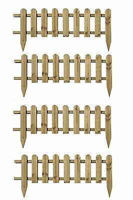 4 x Wooden Panel Picket Fencing - Garden Wood Panel Border Fence