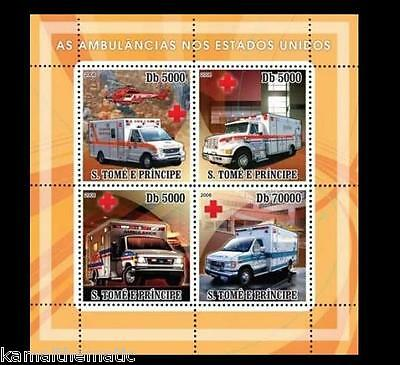 S. Tome MNH 4v SS, Ambulance, America, Red Cross, Helicopter  (10)  - M19