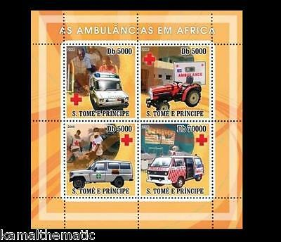S. Tome MNH 4v SS, Ambulance, Africa, Red Cross, Tractor, Medical Transport- M17