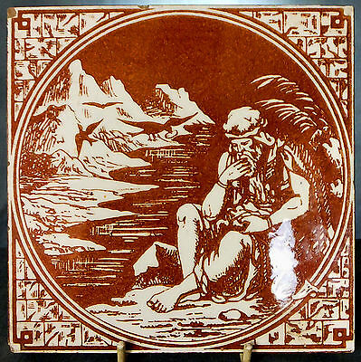 RARE 19th. CENTURY MINTON BIBLE SERIES TILE - ELIJAH FED by RAVENS