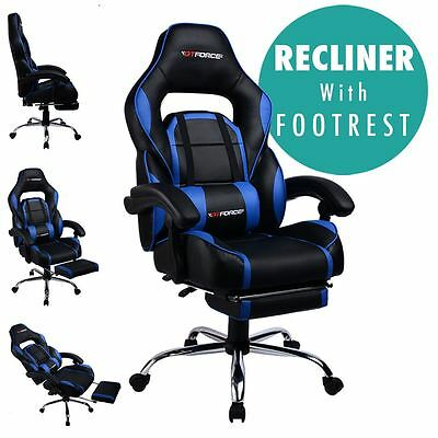 Gtforce Pace Blue Reclining Leather Sports Racing Office Desk Chair Gaming