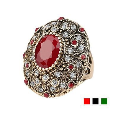 Jewelry Mosaic Resin Ancient Gold Plated Antique Rings Crystal Oval Shaped