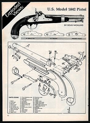 1988 U.S. Model 1842 Pistol Exploded View Parts List 2-page Assembly Article