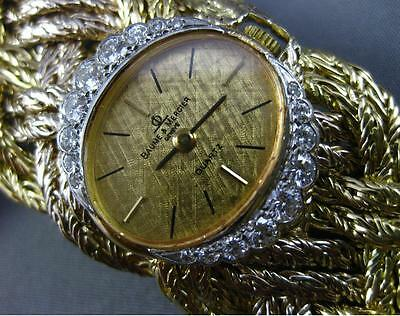 Estate Large & Long Baume & Mercier .88Ct Diamond 18K Two Tone Gold Woven Watch
