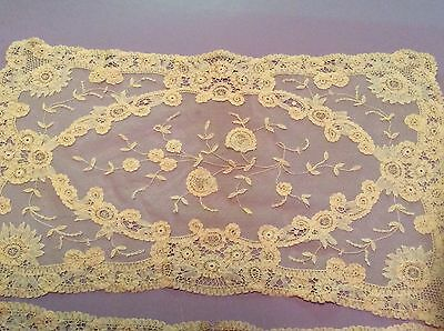 7 Antique Vintage Net Lace Ecru Handmade Brussels Placemats 11 By 17 1/2