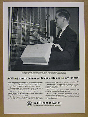 1963 Bell Telephone 'New' Electronic Switching System photo vintage print Ad