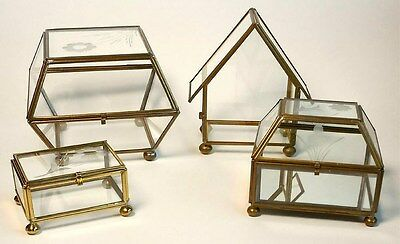 4 Vintage Brass & Etched Glass Miniature Curio Display Cases Trinket Box Lot