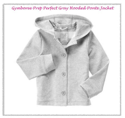 *nwt* Gymboree Girls Size S 5-6 Prep Perfect Gray Ponte Hooded Jacket Coat