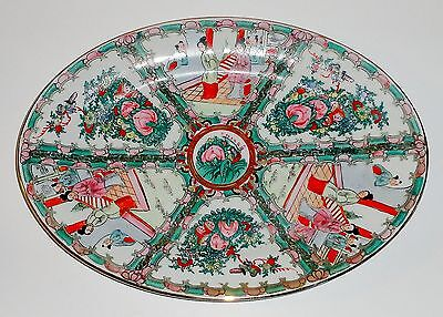 """Vintage Chinese Hand Painted 16"""" Oval Platter - Red Mark"""