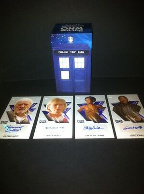 """TOPPS Dr Who  OVERSIZED 2.5 """"X 4.75""""  4 LOT Auto Autograph Card + BOXED SET. BBC"""