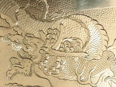 Antique Superb Zee Sung Shanghai Chinese Asian Silver Dragon Cigarette Case 210G