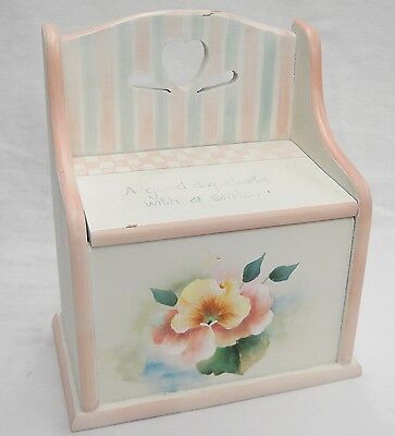 Vintage Wooden Recipe Box Hand Painted Pink & Green Good Day Starts w a Smile