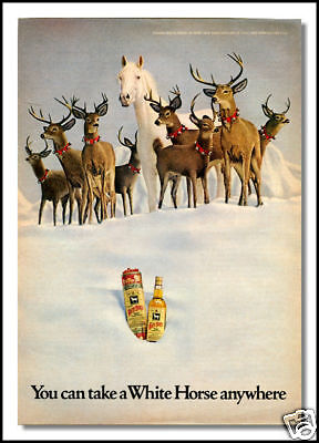 1973 White Horse whisky Christmas print ad