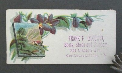 Frank F. Goodwin, BOOTS, SHOES AND RUBBERS, Albany, NY Victorian Trade Card