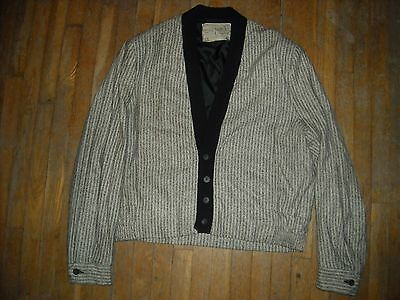 Vtg 50 60 Men Black White Stripe Knit Button Rockabilly Cardigan Sweater Jacket