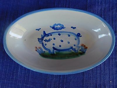 """M.A. Hadley Country Scene 9"""" OVAL RELISH DISH *have lots of HADLEY items* PIG"""