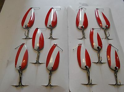"""10 xSPOONS, FISHING TACKLE,Red & White,LURES,SPOON 2.5""""-2"""" PIKE&Walleye SPOONS"""