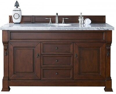 "James Martin Brookfield 60"" Single Bathroom Vanity In Cherry W/white Marble Top"