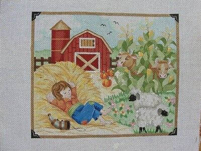 Little Boy Blue Nursery Rhyme Handpainted Needlepoint Canvas Alice Peterson