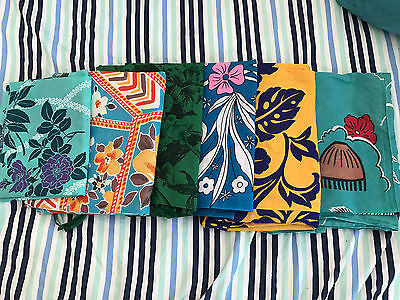 6 Pieces Of Vintage Cotton Hawaiian Material; All In Good Shape; Lots Of Colors