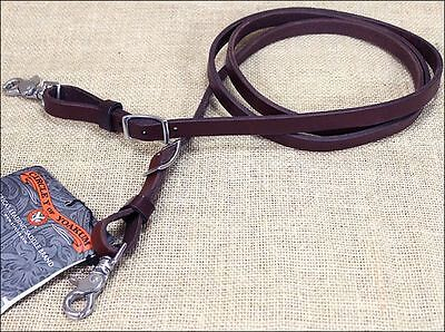 "5/8""x 7' Circle Y Walnut Leather Western Tack Horse Contest Rein With Snap"