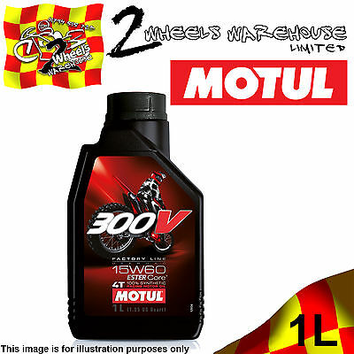 1x 1L MOTUL 300V 15W60 FACTORY LINE OFF ROAD RACE ESTER MOTOR CYCLE BIKE OIL