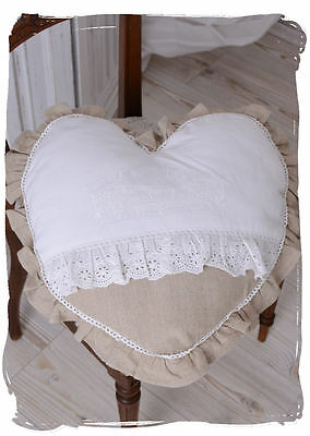 Heart Pillow Shabby Chic Cushion Lace Embroidery Pillow Heart