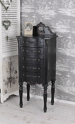 Vintage Chest Of Drawers Black Tower Kommode Rococo Vertiko Antique Night