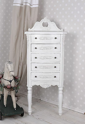 Vintage Chest Of Drawers White Tower Kommode Victorian Vertiko Night Antique