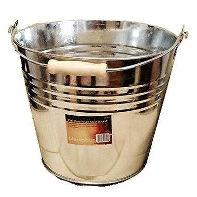 12ltr Galvanised Steel Bucket - 12l Metal Coal Handle Heavy Duty Water Litre