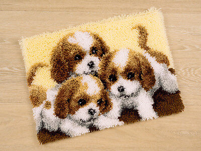 Vervaco Knotted Carpets ca. 50 x 40 cm Three Dogs Puppies knot yourself -227
