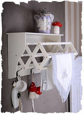 Teatowel Holder Extendable Wood White Shabby Chic Vintage Shelf