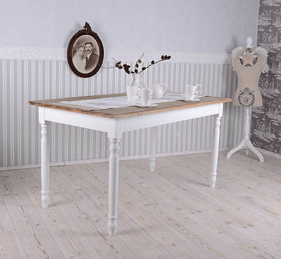 DINING Table VINTAGE WOOD Table Country house style Wooden table Antique White