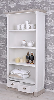 Bookshelf Shabby Chic Shelf Drawers Library Cabinet White