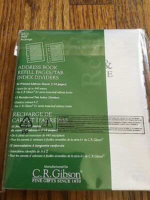 CR Gibson ADDRESS BOOK REFILL PAGES Tab Index Dividers 55 SHEETS A1 Series New