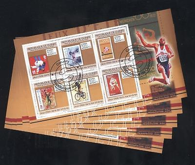 (cto1437) 5x cto Sports, Bicycle, Stamp on Stamp, Small lot, Guinea