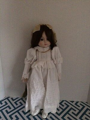 Seymour Mann porcelain doll 1982 Antiqued Handpainted With Glass Eyes 18 Inch