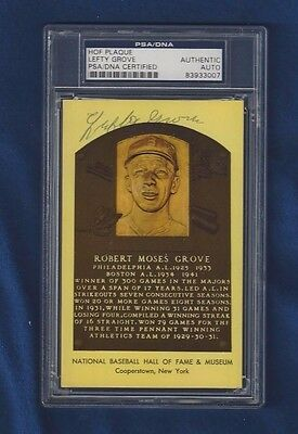 Lefty Grove Autographed HOF Plaque Postcard Red Sox A's Baseball PSA SLABBED