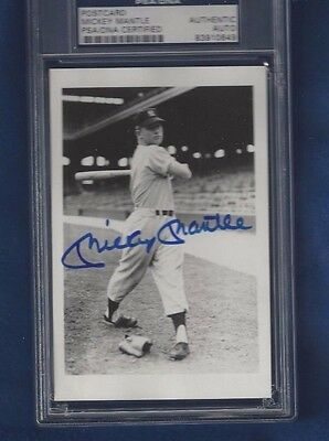 Mickey Mantle Autograph George Brace Postcard Photo PSA SLAB NY Yankees Rookie