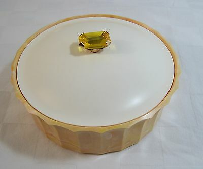 Vintage Avon Topaze Beauty Dust Powder Container Marbled Butterscotch Yellow