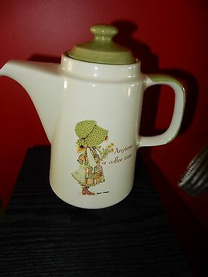 Vintage Holly Hobbie Country Living Green Girl  Coffee Pot