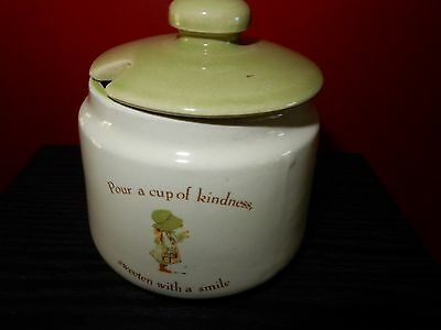Vintage Holly Hobbie Country Living Green Girl  Small Sugar Pot