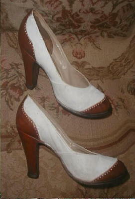 Seymour Troy 1940s SPECTATOR High HEELS Pumps 2 Tone Cream & Tan Sz 6 1/2 Nice