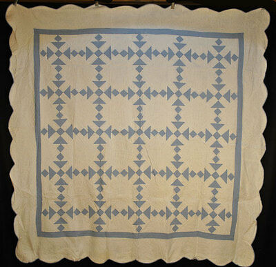 "ANTIQUE QUILT 1900's BLUE + WHITE DUCK AND DUCKLINGS HAND SEWN  79"" x 78"""
