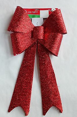 """New Christmas 28"""" Led Lighted Door Window Cordless Ribbon Bow Red Tinsel"""