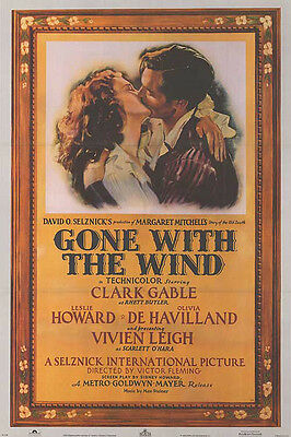 Gone With the Wind (1939) original movie poster reissue 1983  s-sided folded