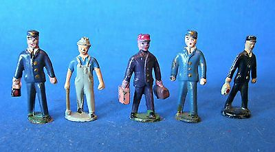 American Flyer S Scale Lead Figure - 5 Rr Workers