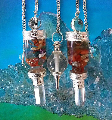 2 Floating Chakra Crystal Dowsing Pendulum Set With Quartz Point And Pouches