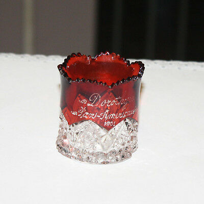 Vintage 1901 Ruby Flashed Toothpick Holder Pan American Exposition In Buffalo NY