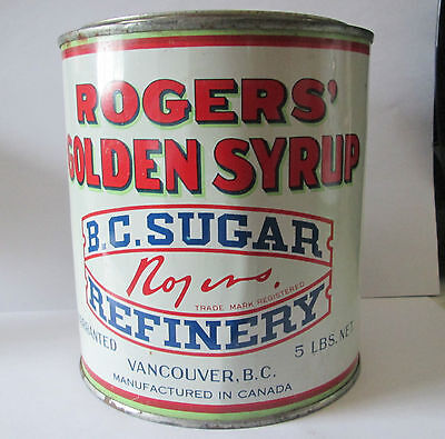 Vintage 1950's 5 Lb Rogers Golden Syrup Tin B.c. Sugar Refinery Vancouver